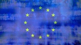 Bandera de la UE y de los códigos digitales almacen de metraje de vídeo
