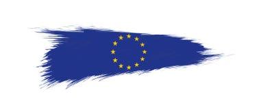 Bandera de la unión europea en movimiento del cepillo del grunge ilustración del vector