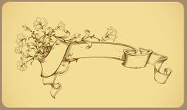 Bandera de la vendimia con la flor - dibujo lineal Foto de archivo