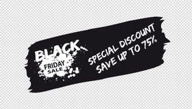 Bandera de la venta de Black Friday de la pincelada - ejemplo del vector - aislada en fondo transparente ilustración del vector
