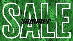 Bandera de la venta, cartel con las hojas de palma, hojas de la selva stock de ilustración