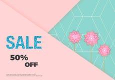 Bandera de la venta con las flores en el fondo rosado y azul Venta azul del brillo Plantilla para la tarjeta de los diseños, avia libre illustration