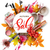 Bandera de la venta con las hojas de otoño, los cosméticos y las bayas de serbal Vector