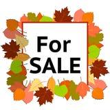 Bandera de la venta con las hojas de otoño brillantes ilustración del vector