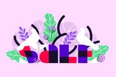 Bandera de la venta con los pájaros blancos y las hojas de palma tropicales stock de ilustración