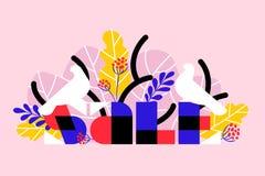 Bandera de la venta con los pájaros blancos y las hojas de palma tropicales en rosa libre illustration