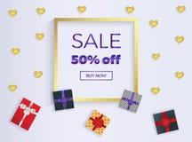Bandera de la venta con los regalos de la caja con las cintas y los corazones del brillo del oro Marco del oro Lugar para el text ilustración del vector