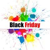 Bandera de la venta de Black Friday del vector con las manchas blancas /negras brillantes del color de la tinta Imagenes de archivo