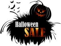 Bandera de la venta de Halloween del vector con la linterna de la calabaza Fotografía de archivo libre de regalías