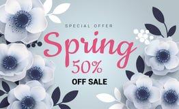 Bandera de la venta de la primavera con las anémonas de las flores de papel ilustración del vector