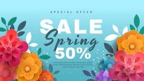 Bandera de la venta de la primavera con las flores de papel en un fondo azul stock de ilustración