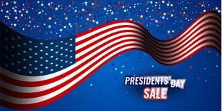 Bandera de la venta del día del ` de los presidentes con el fondo de la bandera americana y de las estrellas ilustración del vector