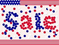 Bandera de la venta del día del presidente por el confeti Imagen de archivo libre de regalías