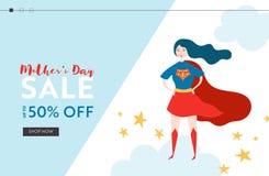 Bandera de la venta del día de madres con la madre del super héroe para la página de aterrizaje Diseño estacional de la primavera stock de ilustración