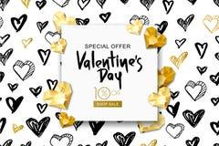 Bandera de la venta del día de tarjetas del día de San Valentín Corazón de la gema del oro del vector en fondo de la acuarela Dis ilustración del vector