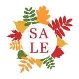 Bandera de la venta del otoño con el ramo de hoja Marco del círculo con las hojas libre illustration