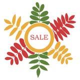 Bandera de la venta del otoño con el ramo de hoja Marco del círculo con las hojas stock de ilustración