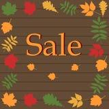 Bandera de la venta del otoño con la hoja ilustración del vector
