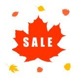 Bandera de la venta del otoño con la hoja de arce stock de ilustración