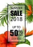Bandera de la venta del verano con las flores y las hojas tropicales para la promoción Fotos de archivo libres de regalías