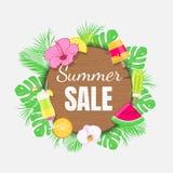 Bandera de la venta del verano con las hojas, el helado y las frutas tropicales Foto de archivo libre de regalías