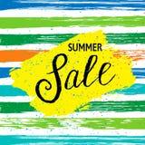 Bandera de la venta del verano con las rayas del color ilustración del vector