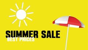 Bandera de la venta del verano con un parasol de playa Plantilla del diseño del vector para la promoción Fotos de archivo libres de regalías