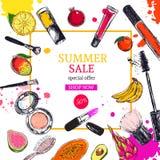 Bandera de la venta del verano Los cosméticos y el fondo de la belleza con componen objetos del artista: lápiz labial, crema, cep Foto de archivo