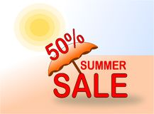 Bandera de la venta el 50% del verano con el sol y el parasol de playa libre illustration
