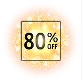 Bandera de la venta el 80 por ciento apagado en fondo abstracto de la explosión con los elementos que brillan del oro Explosión d Foto de archivo libre de regalías