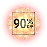 Bandera de la venta el 90 por ciento apagado en fondo abstracto de la explosión con los elementos que brillan del oro Explosión d Fotografía de archivo libre de regalías