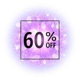 Bandera de la venta el 60 por ciento apagado en fondo abstracto de la explosión con los elementos que brillan púrpuras Explosión  Imagenes de archivo