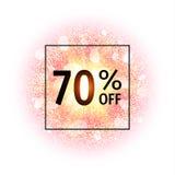 Bandera de la venta el 70 por ciento apagado Explosión abstracta con los elementos que brillan del oro Explosión de la estrella q Foto de archivo