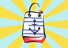 Bandera de la venta en estilo del arte pop Bolso con los rayos Imagenes de archivo