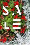 Bandera de la venta Letras en flores Solución elegante moderna para usted diseño Rojo blanco Fotos de archivo libres de regalías