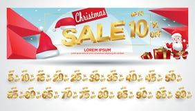 Bandera de la venta de la Navidad con la etiqueta del descuento el 10,20,30,40,50,60,70,80,90,99 por ciento ilustración del vector