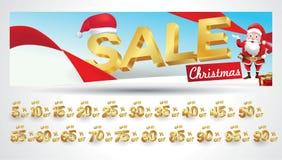 Bandera de la venta de la Navidad con la etiqueta del descuento el 10,20,30,40,50,60,70,80,90,99 por ciento libre illustration