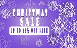 Bandera de la venta de la Navidad para el folleto el 35%, aviador del día de fiesta, cartel, haciendo publicidad del logotipo, pr Foto de archivo