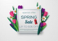 Bandera de la venta de la primavera con las flores cortadas de papel libre illustration