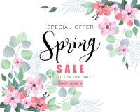 Bandera de la venta de la primavera con las flores y el eucalipto de Sakura ilustración del vector