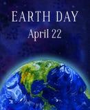 Bandera de la vertical del Día de la Tierra Planeta de la tierra en espacio Ejemplo dibujado mano de la acuarela ilustración del vector