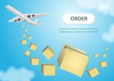 Bandera de la web para los servicios de entrega y el comercio electr?nico Los paquetes est?n volando en los paraca?das Ejemplo ai stock de ilustración