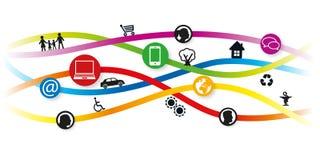Bandera de la web que ilustra los diversos componentes de la vida urbana libre illustration