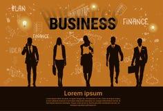Bandera de lanzamiento del desarrollo de Team Teamwork Business Plan Concept del grupo de los empresarios Foto de archivo