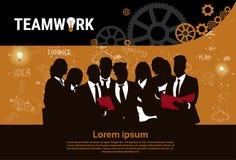 Bandera de lanzamiento del desarrollo del concepto de la estrategia de Team Brainstorm Teamwork Business Plan del grupo de los em Fotografía de archivo libre de regalías