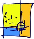 Bandera de las anotaciones de la biología en arte Fondo amarillo y azul en la marca ilustración del vector