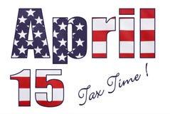 Bandera de las barras y estrellas de los E.E.U.U. en outli de las letras y de los números del 15 de abril Fotos de archivo libres de regalías