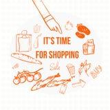 Bandera de las compras del eco del garabato del vector EPS10 Imagen de archivo libre de regalías
