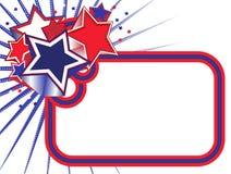 Bandera de las estrellas rojas, blancas y azules en BKGD blanco ilustración del vector