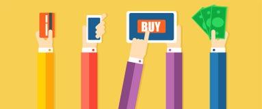 Bandera de las formas de pago Las manos pagan las mercancías, con la ayuda de efectivo, teléfono, tarjeta Imagen de archivo